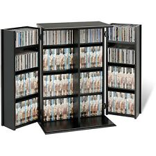 Media Storage Cabinet With Doors Locking CD DVD Blu-Ray Black Shelves Game Case