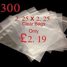 300 Small Clear 2.25 x 2.25 Resealable Plastic Bags Polythene Grip Seal £2.19