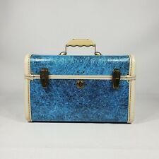 Vintage Blue Atomic Mid Century Train Case w Key Fiberglass 50s Luggage Suitcase