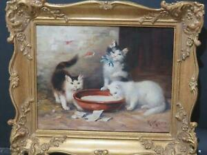 Antique Oil Cats Munich Germany Circa 1900 Superb Quality