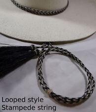 COWBOY hat horsehair STAMPEDE STRING Black/white Full Loop horse hair hat string