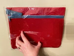 NEW Red Padded Fabric iPad Tablet Protector Zipper Case Sleeve Multipurpose Bag