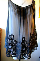Vtg 90s HENSON KICKERNICK ~ Sheer Babydoll Nightie ~ Amazing Black Lace ~ Small