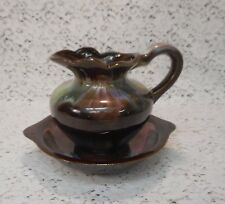 Vintage Artmark Japan Wash Basin Bowl & Pitcher - Brown w/Colorful Swirl Design