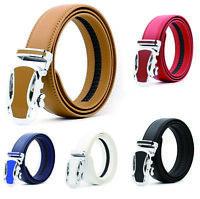 Leisure Men's Real Leather Belt Automatic Buckle Belt Ratchet Strap Jeans Dress