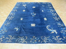 9'2 X 11'5 Hand Knotted Blue Semi-antique Peking Chinese Oriental Rug G2854