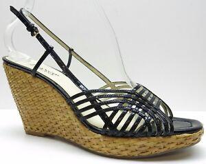 Franco Sarto Black Patent Leather Slingback Wedge Pump Sandals Heels 9.5M 9.5