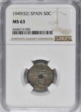 1949 (52) Spain 50 Centimos, NGC MS 63