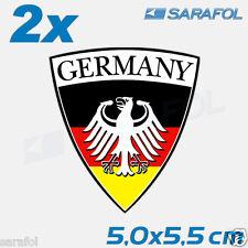 2x Germany Aufkleber (Nr.008) Deutschland Sticker Emblem 5,0x5,5 cm Alemania