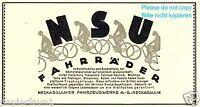 Fahrrad NSU Reklame von 1926 Neckarsulm Werbung ad bicycle bike