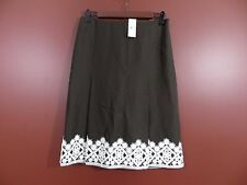 SK04817- NWT ANN TAYLOR Woman 55%Linen Pleated Skirt Brown White Lace Trim 4 $69