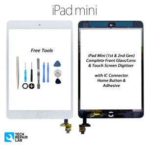 NEW iPad Mini 1 & 2 Complete Front Glass/Digitiser Touch Screen w/Tools - WHITE