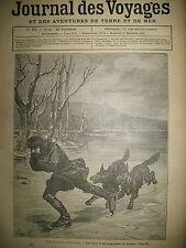 JOURNAL DES VOYAGES N° 71 NORVEGE LOUPS ET PATINEUR PATIN A GLACE 1878