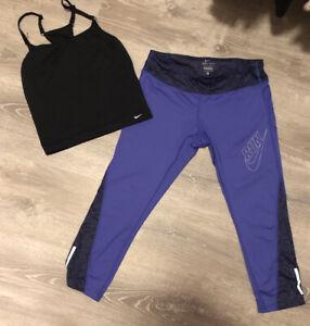 Nike Purple Run Animal Print Leggings L & Black Nike Drift Top M/L Bundle Used