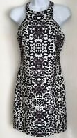 Miss selfridge sz 10 black white animal print sleeveless shift dress knee length