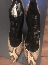 D & G crocodile skin and black lace boots