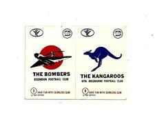 SCANLENS 1974 VFL/AFL FOOTBALL STICKER #3 & #9 BOMBERS - KANGAROOS (double)MINT