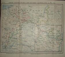 Carte/plan de bataille ~ juin/juillet 1815 ne france & s-bas les mouvements de troupes paris