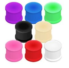 PAIR (2) Double Flared Flat Silicone EAR PLUGS Flexible PIERCING GAUGES 8 Color