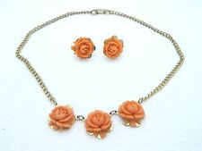 VTG Gold Tone Carved Coral Celluloid Rose Flower Necklace & Earrings