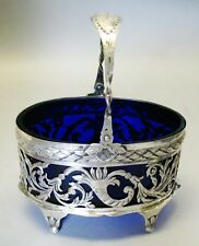 Large Antique Cobalt Glass & Sterling Silver Basket  c. 1920  art vase