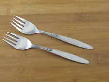 """2 Two Amefa Tulip Time Salad Dessert Forks 5 7/8"""" EXC Holland Stainless Flatware"""
