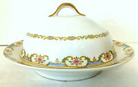 GDA Limoges France Domed Covered Butter Dish & Underplate White Blue Pink EUC