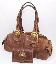 Coach Soho Braided Tobacco Brown Leather Tote Handbag And Wallet Set G06S-10048