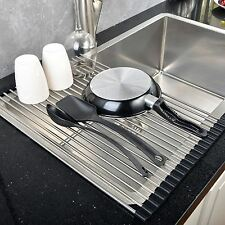 Stainless Steel Roll Up Dish Drying Rack Over The Sink Drainer Dry Kitchen Mat