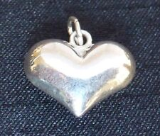 Sterling Silver Puffed Heart Charm 12 x 14mm  jewellery supplies findings