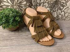 Womens Minnetonka Fringe Leather Sandals Moccasins Gladiator Tan Flats Sz 7