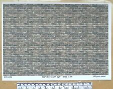 """Dolls house 1/12th scale """"Dark brick with age"""" paper - A4 sheet"""