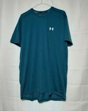 Mens Under Armour Fitted Heatgear teal stripes shirt extra large Xl