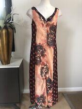 soft surroundings Women XSP Rust Floral Sleeveless Buttin Front Maxi Dress D