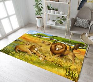 African Safari Animals Scenery Lion Area Rugs Kids Bedroom Living Room Floor Mat