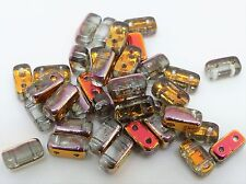 6(mm) TWO HOLE CZECH GLASS SQUARE RECTANGULAR SPACER BEADS - (40PCS)