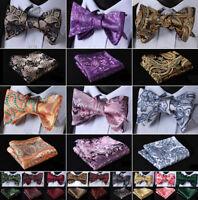 Hisdern Gold Paisley Mens Silk Self Bow Tie Handkerchief Set Bow Tie Wedding J03