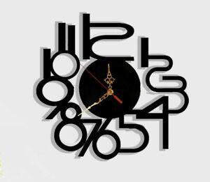 Wall Clock Modern Australian Made Glossy Acrylic Delta Number Design Art Clock