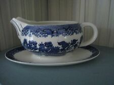 BLUE WILLOW WOODS & SONS ENGLAND GRAVY BOAT  WITH ATTACHED UNDERPLATE