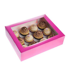 ++ 12er Cupcake Box, pink, inkl. Sichtfenster ++