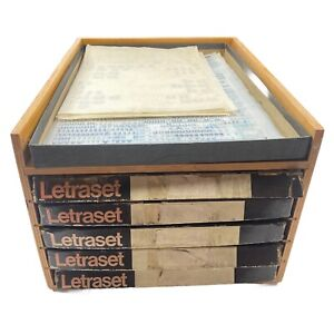 VINTAGE Letraset Wooden Storage Cabinet & 150+ Partially Used Rub On Sheets