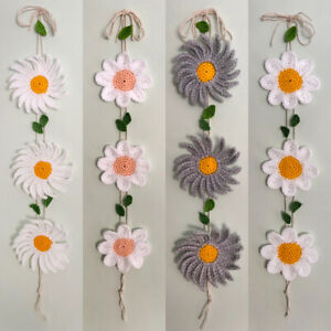 Handmade Crocheted Flowers Window Wall Home Decoration Floral Garlands Wreaths