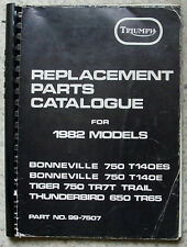 TRIUMPH MOTORCYCLES Parts Catalogue 1982 #99-7507 BONNEVILLE Tiger THUNDERBIRD