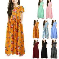 Children Toddler Kids Baby Girls Long Sleeve Striped Print Dress Dresses Clothes