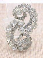Clear Rhinestone Infinity Large Silver Tone Pin Brooch Vintage Wedding Bridal