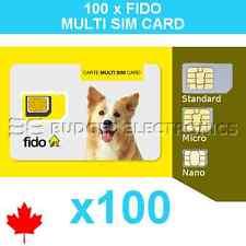 100 pcs Fido Triple Format Nano Micro Standard Multi Sim Card Wholesale Bulk