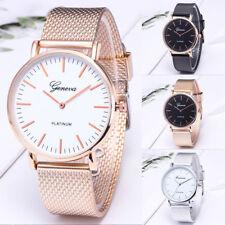 UK Women Ladies Rose Gold Silver Plated Stainless Steel Geneva Wrist Watch