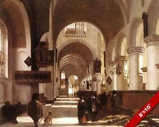 INTERIOR OF A PROTESTANT CHRISTIAN CHURCH PAINTING ART REAL CANVAS PRINT