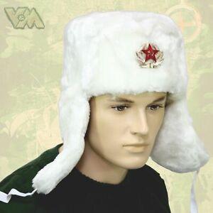 WINTERPELZMÜTZE FELLMÜTZE KÄLTESCHUTZ RUSSIA RUSSLAND UdSSR CCCP УШАНКА WEISS