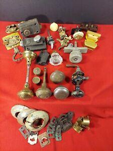 Lot Of Vintage Door Handles Knobs Locks Pulls Parts Salvage Hardware